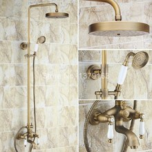 Bathroom Rain Shower Faucet Set Antique Brass Double Ceramics Lever Tub Mixer Tap + Rainfall Shower Head + Handshower ars165(China)