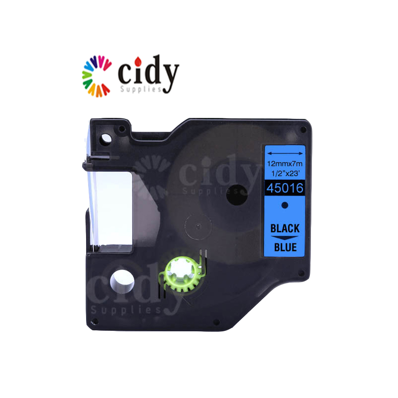 cidy 15PCS wholesale 12mm*7m Black on Blue 45016 tape for dymo label tape with factory price Sale-Seller