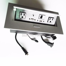 US power audio VGA HDMI data pop up open furniture socket female male power plug cable surge protector silver black panel