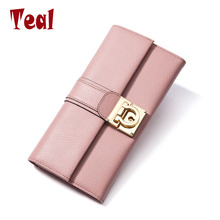 women long wallet women leather purse high quality wallets brands female money bag made of genuine leather wallet for cell phone