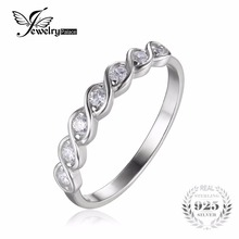 JewelryPalace Classic Round Cubic Zirconia Wedding Promise Ring 925 Sterling Silver Jewelry Simple Wedding Engagement Ring(China)
