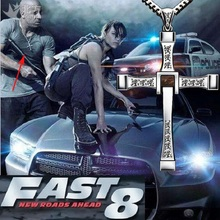 High Quality The Fast Furious 8 Celebrity Vin Diesel Item Crystal Jesus Cross Pendant Steel Necklace For Men Gift Jewelry