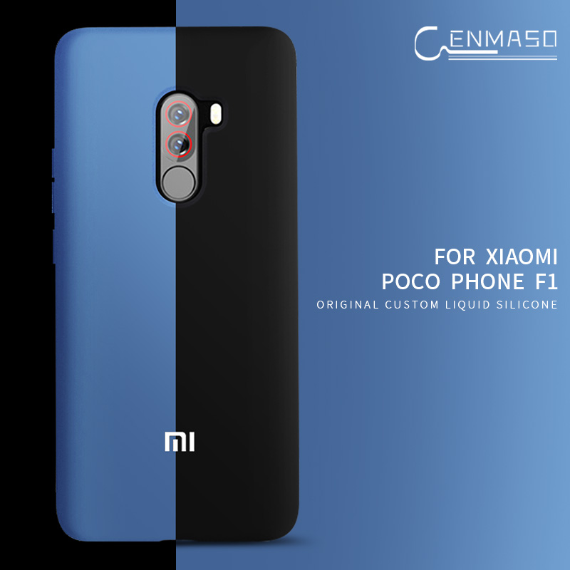 Xiaomi POCOPHONE F1 Case Soft Liquid Silicon Cover Xiaomi Pocofone F1 Back Phone Case POCO F1 Half Wrapped Shookproof Funda Capa(China)