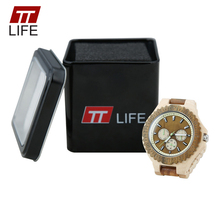 TTLIFE Mens Wood Watches Luminous Chronograph Analog Business Male Wood Multifunction Quartz Wrist Watches Clock houten horloge