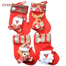 6pcs/lot Santa Claus Snowman Deer Christmas Stockings Christmas Tree Ornaments Decorations Xmas Festival Gift Holders Bags SD25(China)
