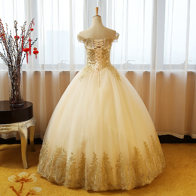 Shop Quinceanera Dress Gold Appliques Lace Sweet 16 Dress Ball Gown online