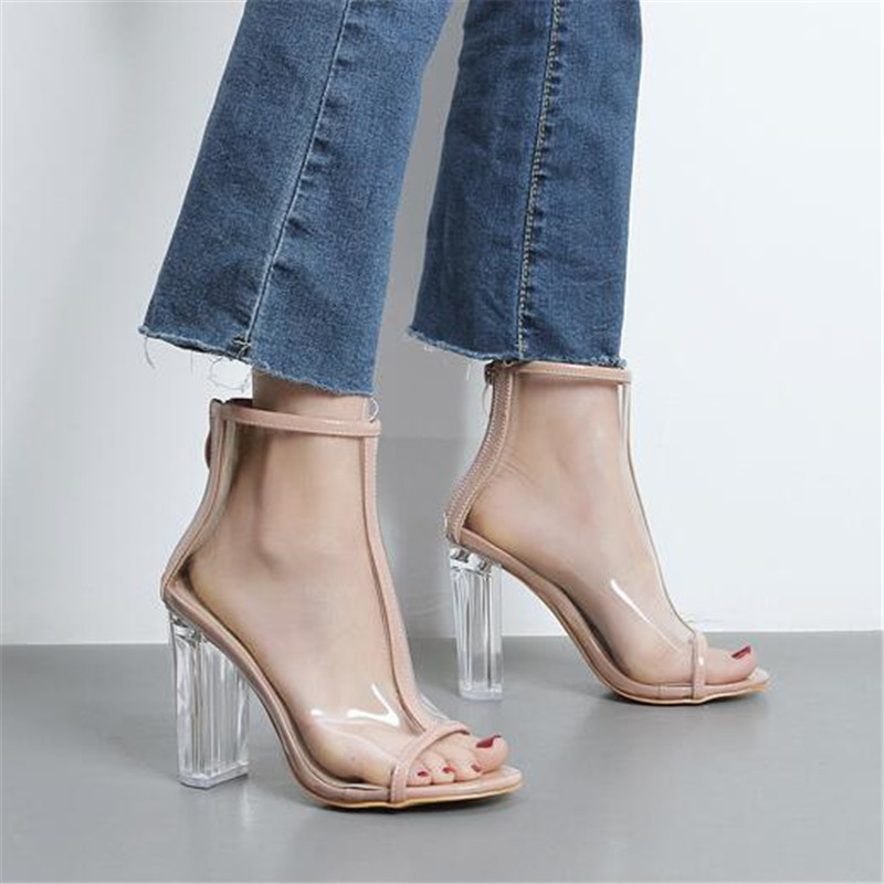PVC Women Gladiator Sandals Clear Crystal Thick Heel Shoes Transparent Peep Toe Chunky Heeled Pumps Lady Party Stiletto XK031009<br>
