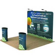 10ft portable straight tension fabric trade show display pop up booth backdrop wall with graphic printing travel case