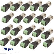 20Pcs/Lot High Quality BNC Connector Male Coax CAT5 to Camera Connector BNC Terminal For CCTV Camera VC295 T150.5(China)