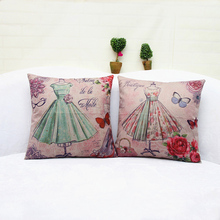 "Skirt Printed Emulation Silk Cushion Cover Full dress Throw Pillowcases Square Sofa Car Home Decorative Pillow Cover 18""*18""(China)"