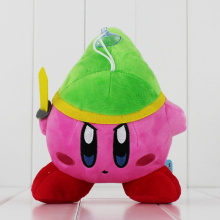 EMS 50PCS/LOT 20cm super mario Cute lovely Kirby Plush Toys Wear Green Hat With Sword Free Shipping