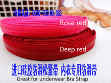NEW 5M/lot 1.1cm 1.2cm*0.3cm Width Rose Red Silicone Elastic Gripper Great For DIY Bra Strap Underwear Elastic Webing Band(China)