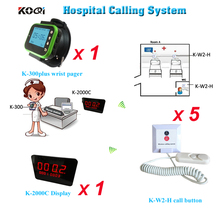 Nurse call system wireless with 5pcs Hospital Patient Call Button Emergency Nurse Call Bell LED Panel K-2000C Watch K-300plus