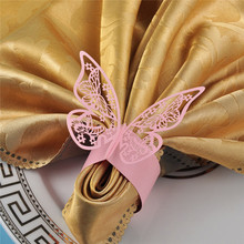 12PCS/lot Pink Butterfly Laser Cut Paper Napkin Rings Holders Porta Guardanapo Party Wedding Favors for bodas Table Decoration