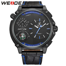 New Brand Recommended Products WEIDE Waterproof Military Compass Watch Mens Analog Display Genuine Leather Strap Wrist Watches