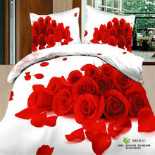Home Textiles 100% Cotton 3D Bedclothes 4pcs Bedding Sets  King Or Queen Red Rose Flower