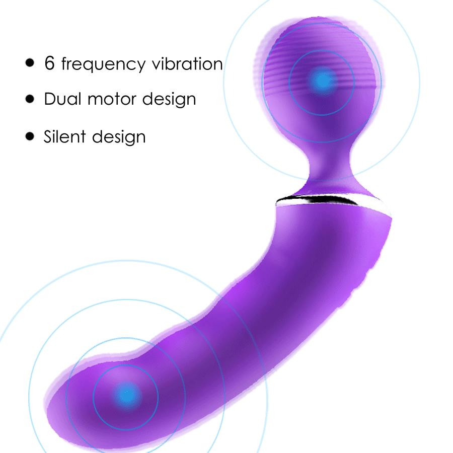 NEW Sex Products 6 Speed USB Rechargeable Dual Motor Magic Wand Massager vagina Clitoris stimulator Vibrator Sex toys For Women<br>