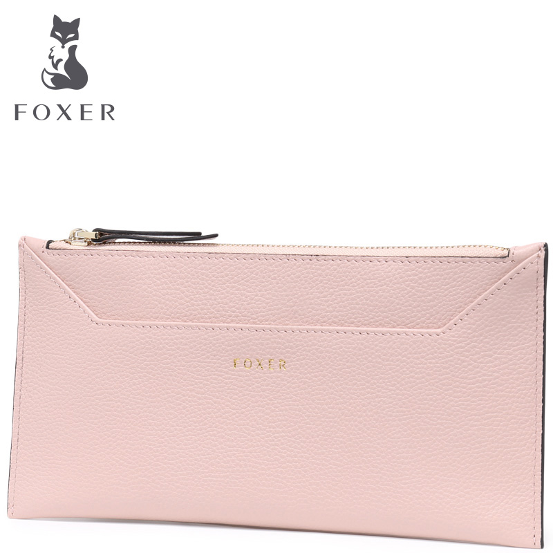 FOXER Brand Women Wallets Genuine Leather Long Wallet For Female High Quality Coin Wallet Casual Zipper Purse For Womens<br>