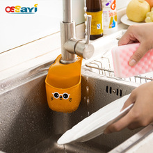 Sink Storage Pouch Easy Install Buttoned Kitchen Sponge Dropper Shelf Basket Bath Faucet Soap Shelf Convenience Storage Bag(China)