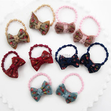 15Pairs Fashion Cute Floral Hair Bow Girls Elastic Hair Bands Kawaii Solid Fabric Bowknot Rope Gum Rubber Band Pony Tail Holder