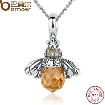 BAMOER Стерлингового Серебра 925 Прекрасный Orange Би Животных Подвески Ожерелье для Женщин Fine Jewelry CC035