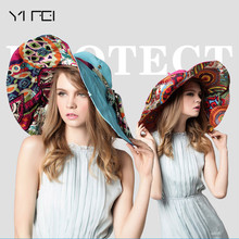 YIFEI Bienvenu Womens Large Brim Floppy Foldable Roll up UPF 50+ Beach Sun Hat Summer Hats for Women Fashion Adjustable outdoor(China)