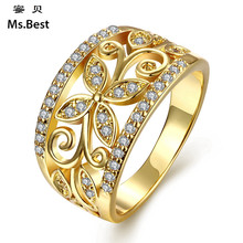 Statement Zirconia engagement rings for women copper in fine Gold-color fashion jewelry best seller drop ship buy bulk china