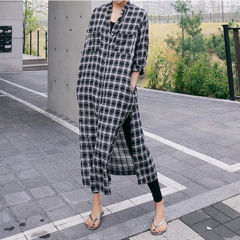 SuperAen New 2019 Spring and Summer Plaid Shirt Women Cotton Wild Casual Fashion Korean Style Blouses Female Loose Pluz Size