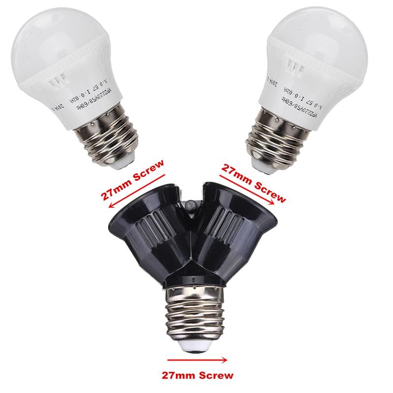 Black New E27 Base to 2 Screw Light Lamp Bulb Socket Converter Splitter Adapter LED Holders