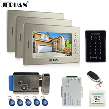 JERUAN wired 7`` LCD video doorphone intercom system 3 monitor RFID waterproof Touch Key password keypad camera+remote control