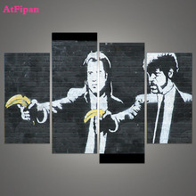 AtFipan Unframed Banksy Art Pulp Fiction Painting Canvas Wall Spray Painting Modern Decorative Canvas Art Work Prints On Home