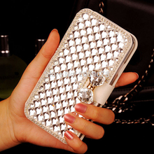 FK For HTC One Dual HQ Bling Crystal Diamond White PU Leather Wallet Case Cover on M7 HTC One dual sim 802t 802w