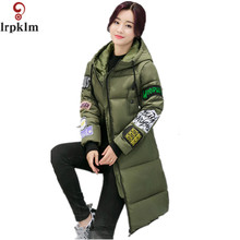 2017 New Long Jacket Women Wide Waisted Winter Wear Print Overcoat Hooded Cold Proof Coat Warm Outerwear Thick Topcoat YY79