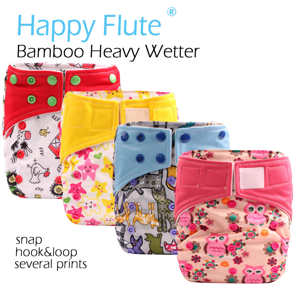 (5pcs/lot) HappyFlute OS Bamboo AI2/Heavy Wetter OS Cloth Diaper,bamboo inner with two bamboo inserts,fits 3-15kg baby