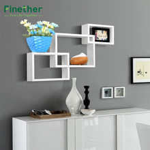 Finether 3pcs Intersecting Rectangular Floating Wall Shelves Mounted Bookcase Storage Display Organizer Decorative Wall Shelves
