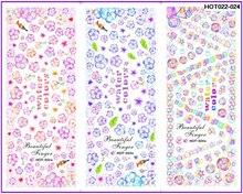 3 PACKS / LOT MOSAIC RAINBOW FLOWER BUBBLE NAIL TATTOOS STICKER WATER DECAL NAIL ART HOT022-024