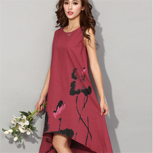 2017 Summer Vintage Sleeveless Loose Dresses Women Casual Cotton Linen Dress Lotus Printing O-neck Plus Size 6xl Summer Dress(China)