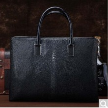 MSHG Pearl Fish skin Briefcase Business code Leisure Bag Large-capacity cross section handbag black(China)