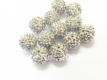 20mm 100PCS Silver Resin Rhinestone Ball Beads,Chunky Beads For Kids Jewelry Making(China)