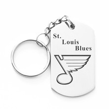Fashion NHL St. Louis Blues Stainless Steel Dog Tag Key Rings Army Tag Key Chain Holder For Ice Hockey Fans Christmas Gift 10Pcs(China)
