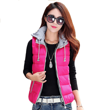 Plus size zip up puffer vests for women oversized winter warm hooded coats ladies casual pink orange black red blue padded tops