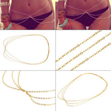 Wholesale Sexy Bikini Waist Chain,Sexy Three Chains,Gold multilayer body chain waist Belly chain Beach Harness Body Jewelry
