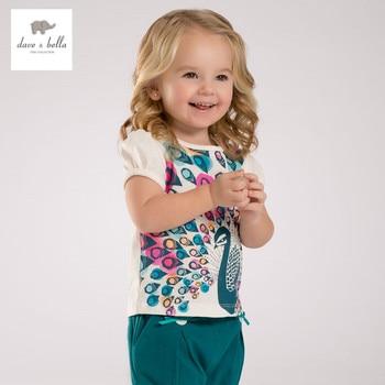 DB3395 dave bella verão pavão meninas do bebê t-shirt das meninas do algodão t do bebê colorido impresso tops roupas infantis toddle camiseta