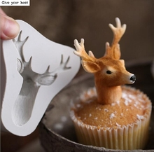 3D Stag's Head Mold Christmas Deer Fondant Cake Silicone Moulds Soap Cupcake Baking Tools Chocolate Kitchen Accessories