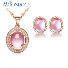 MOONROCY Free Shipping Rose Gold Color Oval CZ Crystal Ross Quartz Pink Opal Necklace and Earrings Jewelry Set for Women Girls