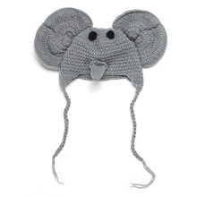 Lovely Baby Artistic Photo Knitting Wool Autumn Winter Hats Gray Mouse Caps For Boy Girl Birthday Gift For Baby 1101
