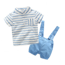 2016 new blue plaid baby boy clothes shirt with bow + casual pants wtih free strap baby boy fashion clothing set newborn clothes