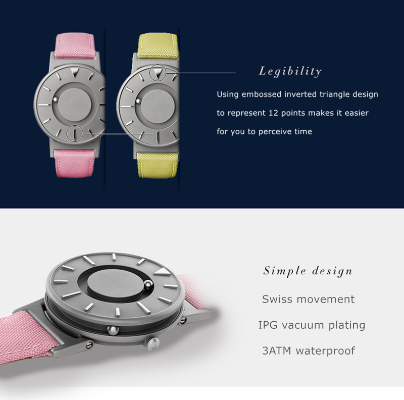 EUTOUR Women Watches Magnetic Ball Pointer Creative Ladies Watch Simple Fashion Pink Canvas Strap Wristwatches For Blind Person (5)