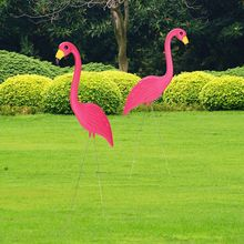Activity New 1PAIR 90x35cm Pink Flamingos Plastic Art Ornaments Retro Stakes For Yard Garden Lawn Wedding Ceremony Decoration