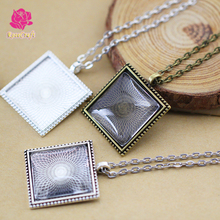 25mm Square Blank Pendant Trays, 1 Inch Bezel Blank Pendant Settings + Rolo Chain Necklace + Clear Glass Cabochon 10 kits